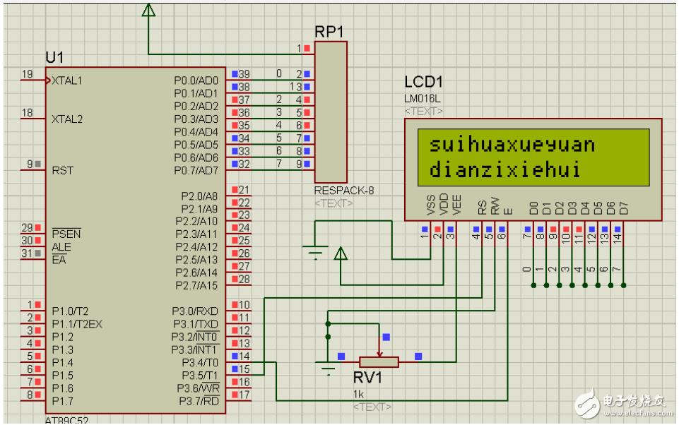 1602液晶操作流程與應用(附proteus仿真+源程序)-電子電路圖.電子技術資料網站