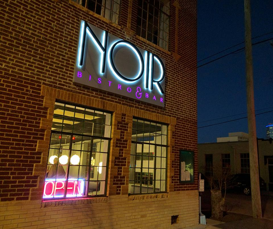 A halo backlit illuminated sign created for Noir Bistro and Bar.