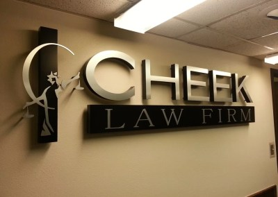 The custom logo sign designed for Cheek Law Firm installed.