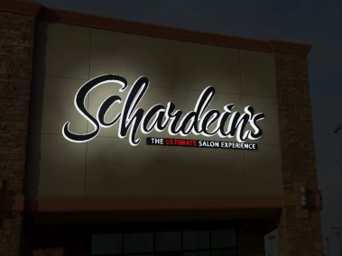3D simulation of new Schardein sign at night.