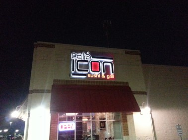 Cafe Icon exterior logo sign by Electrmedia LLC.