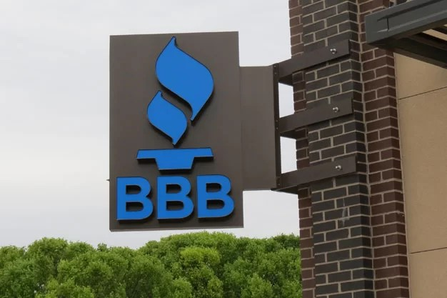 Architectural sign created for the Better Business Bureau.