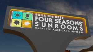 Monument sign for Four Seasons Sunrooms designed by Electremedia.