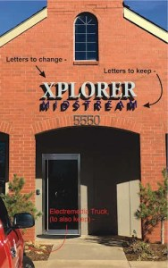 Illustration of sign letters on brick wall that needs changing.