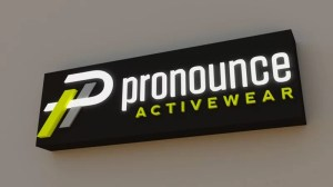 3D rendering of Pronounce Activewear sign by Electremedia.