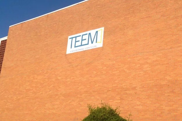 Picture of large vinyl graphic on wall that says TEEM.