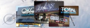 A collage of images of various Electremedia sign projects.