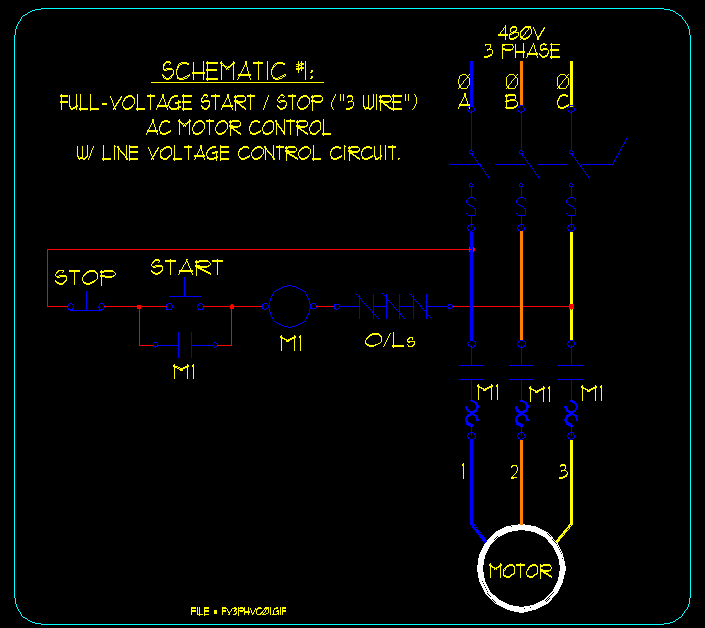 wiring diagram motor control 1995 club car golf cart start stop and schematic great installation of basic ac schematics ecn electrical forums rh contractor net simple selector switch