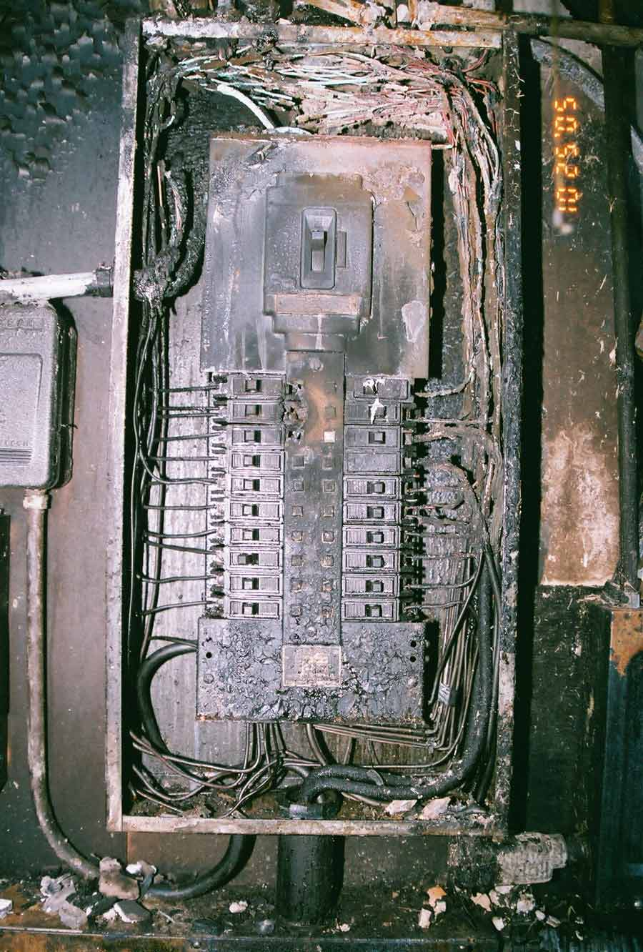 hight resolution of severe electrical arcing in panel box