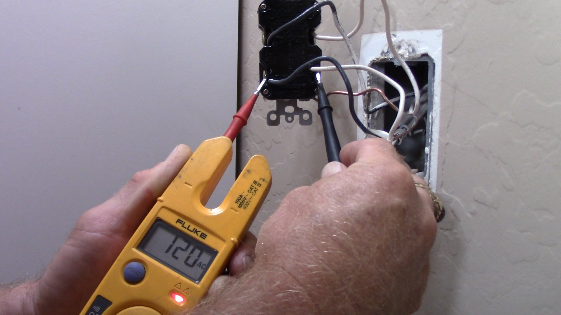hight resolution of using my fluke t1000 multi meter i checked for voltage and i had 120v on the terminals identified as the line terminals testing from hot black wire on