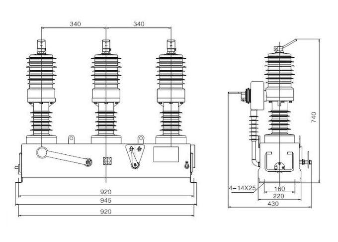 Pillar Type Vacuum Circuit Breaker Outdoor High Voltage