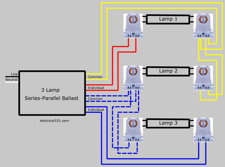 Wiring Diagram Residential Electrical Diagrams How To Replace 3 Lamp Series Parallel Ballast With Series