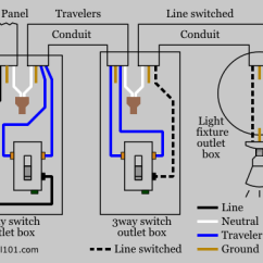Ceiling Fan With Light Wiring Diagram Two Switches Thermistor 3-way Switch - Electrical 101