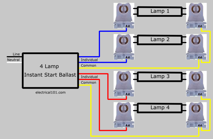 t12 fluorescent ballast wiring diagram nissan xterra speaker parallel lampholder - electrical 101