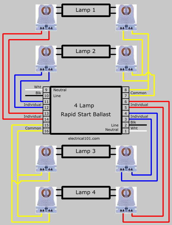 t5 emergency ballast wiring diagram toyota 1jz ge vvti series lampholder 2 and 4 lamps - electrical 101