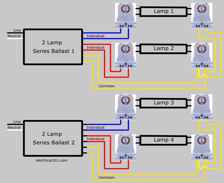 diagram receptacle split circuit clipsal water heater switch wiring replace 4 lamp series with parallel ballast - electrical 101