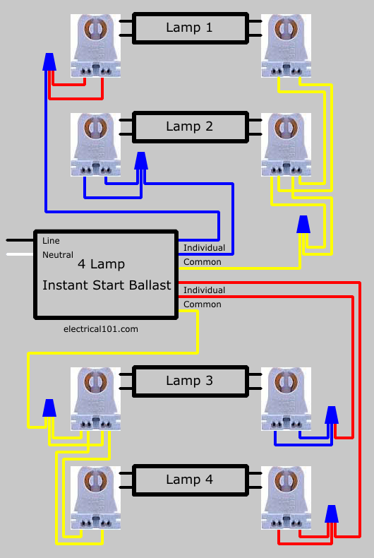 Lampholder Wiring Diagram How To Replace 4 Lamp Series Ballast With Parallel