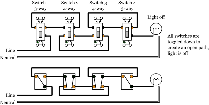 4 Way Dimmer Switch Wiring Diagram : Way switch wiring using nm cable ceiling fan
