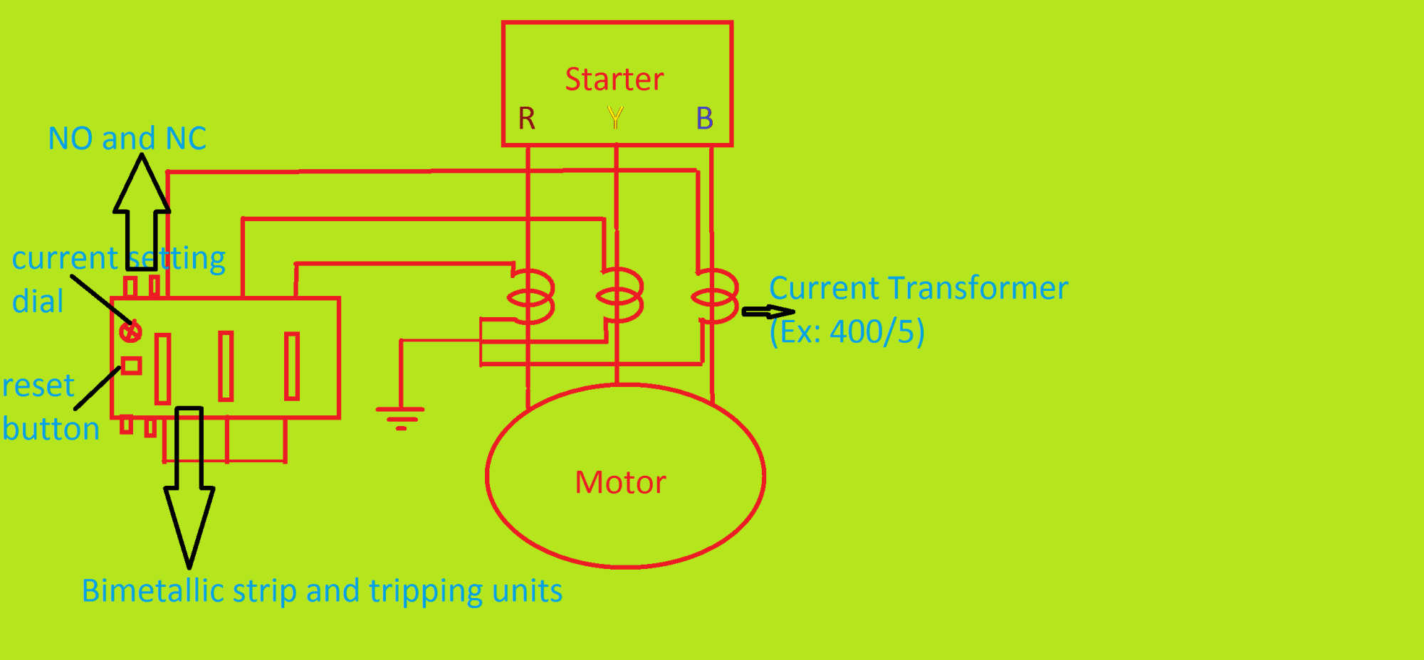 hight resolution of output of the current transformer connects in star mode how to set current limit for ct operated thermal overload relays