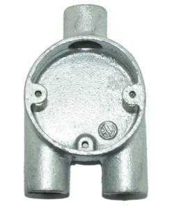 Y (3 Way) Metal Conduit Box 20mm Galvanised Front