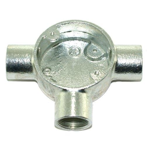 Tee Metal Conduit Box 25mm Galvanised