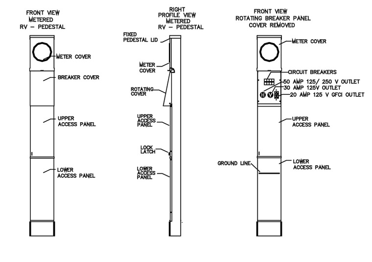 nema 14 50 wiring diagram sip call flow 100 amp rv electrical service pedestal – metered | materials company