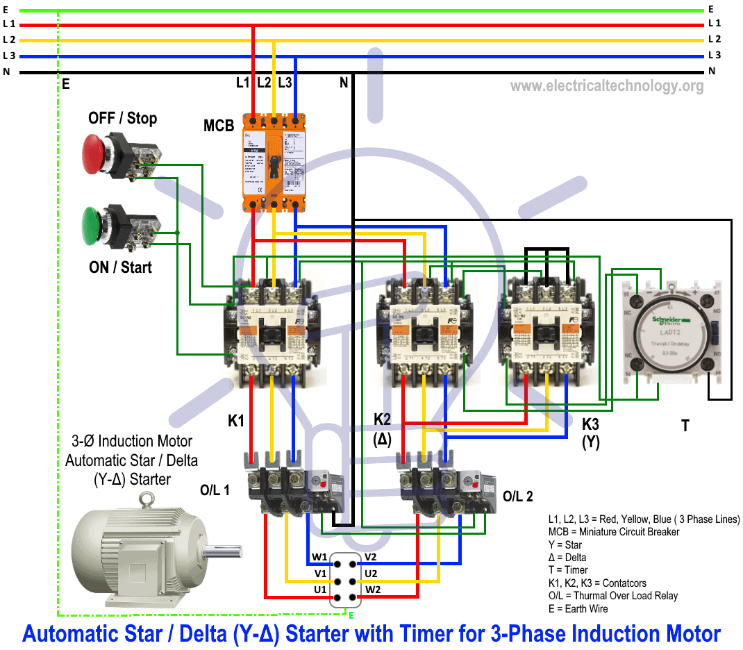 start stop wiring diagram 99 jeep xj radio star delta starter y d for 3 phase induction motors with timer automatic