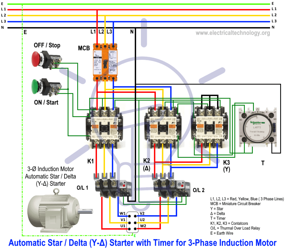 medium resolution of star delta starter y starter power control and wiring connection 3 phase delta motor windings diagram wiring schematic