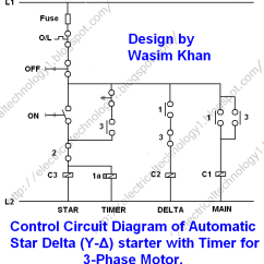 Start Stop Wiring Diagram Motorcycle Explained Star Delta Starter Y D For 3 Phase Induction Motors With Timer Motor Automatic Control Circuit