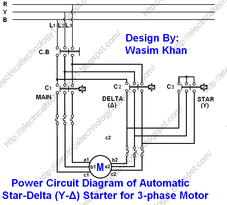 car starter wiring diagram er template star delta y d for 3 phase induction motors with timer motor automatic power circuit