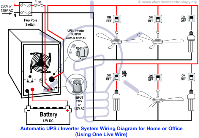 automatic ups / inverter wiring  connection diagram to the home