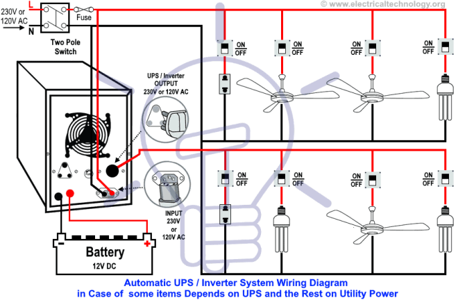 automatic ups wiring for partial load  the rest depends on