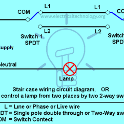 Electrical Light Switch Wiring Diagram Audio Staircase Circuit How To Control A Lamp From 2 Places Two Different By Using Way Switches