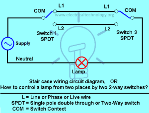 Staircase Wiring Circuit Diagram  How to Control a lamp