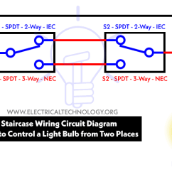Push To Talk Switch Wiring Diagram Chevy 350 Timing Marks Staircase Circuit How Control A Lamp From 2 Places Two Different By