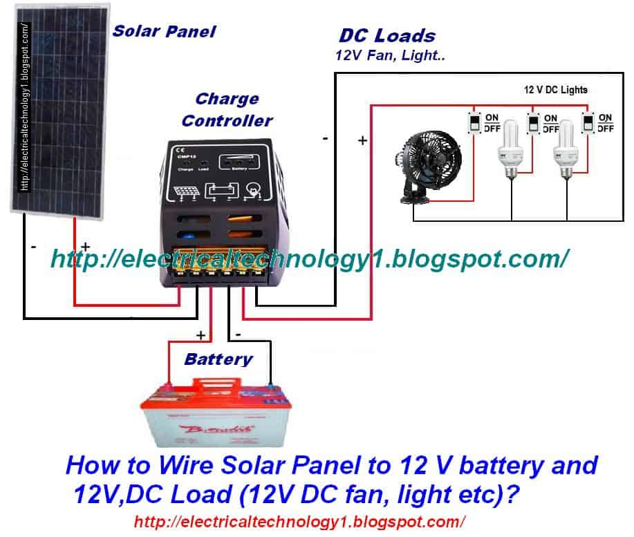 solar power battery wiring diagram ge dishwasher how to wire panel 12v and dc load