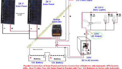 ups wiring diagram circuit suzuki eiger 400 ignition how to control a light bulb by single way or one switch wire two 24v solar panels in parallel with 12v batteries series automatic system for 24 v connection of