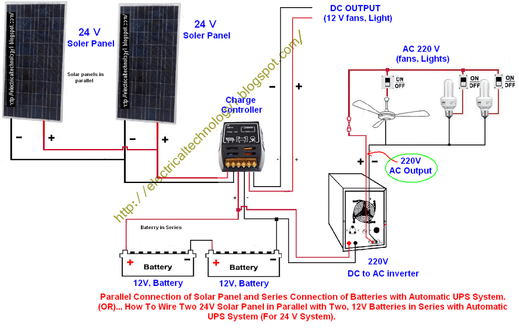 two battery wiring diagram headphone with mic how to wire 24v solar panels in parallel 12v batteries series automatic ups system for 24 v