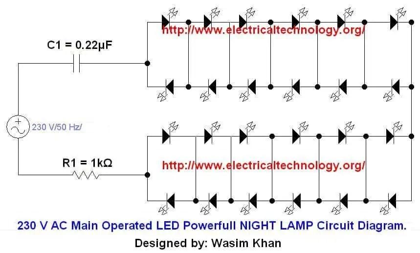pit bike wiring diagram motorola cb radio led circuits diagrams ejec ortholinc de 230 v 50hz ac or 110v 60hz main operated powerful night lamp rh electricaltechnology org bulbs flashing