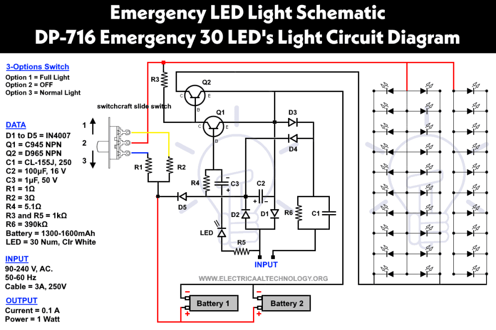 medium resolution of powerful cheep circuit led 716 emergency light schematic diagram