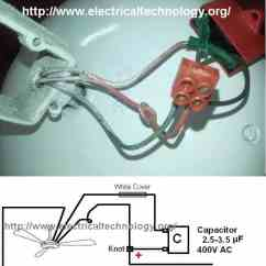 Wiring Diagram Of A Ceiling Fan Ems Stinger How To Connect Install Capacitor With Electrical