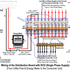 Distribution Board Wiring Diagram Auto Start Diagrams Of The With Rcd Single Phase Home Supply How To Wire Residual Current Device