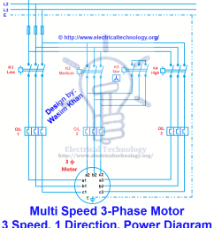 3 phase motor 3 spped 1 direction power diagram [ 849 x 965 Pixel ]