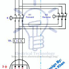 Contactor Wiring Diagram Single Phase Lighting G Body Power Window Rev / For Three-phase Motor Connection And Control Diagrams