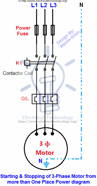 stop start contactor wiring diagram kenmore washer starting & stopping of 3-phase motor from more than one