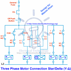 Star Delta Wiring Diagram Motor Cool Skeleton Wye Forward Reverse Great Installation Of Three Phase Connection Y With Rh Electricaltechnology Org Transformer