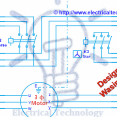 Single Phase To Three Starter Wiring Diagram 4 Wire Resistance Measurement Method Motor Connection Star/delta (y-Δ) Reverse / Forward With Timer Power & Control ...