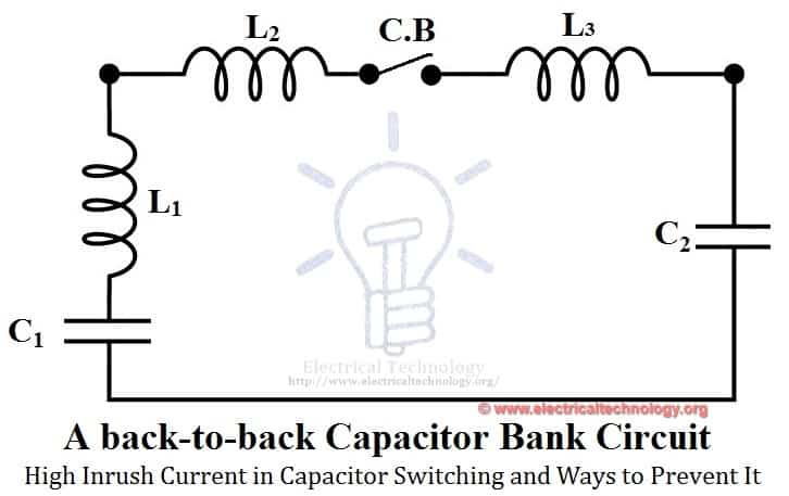 high inrush current in capacitor switching and ways to prevent it