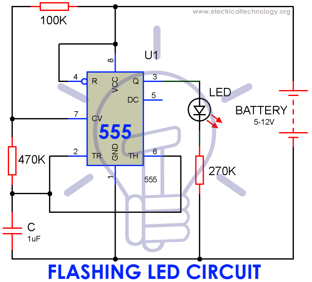 medium resolution of circuit diagram of flashing led lamp using 555 timer ic