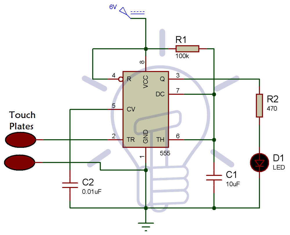 medium resolution of simple touch sensitive switch circuit using 555 timer bc547 transistor circuit diagram for touch switch